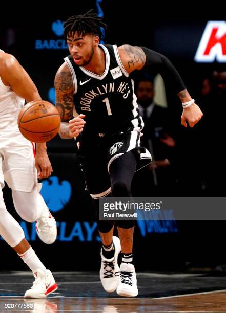 Angelo Russell of the Brooklyn Nets heads upcourt in an NBA basketball game against the Los Angeles Clippers on February 12 2018 at Barclays Center...