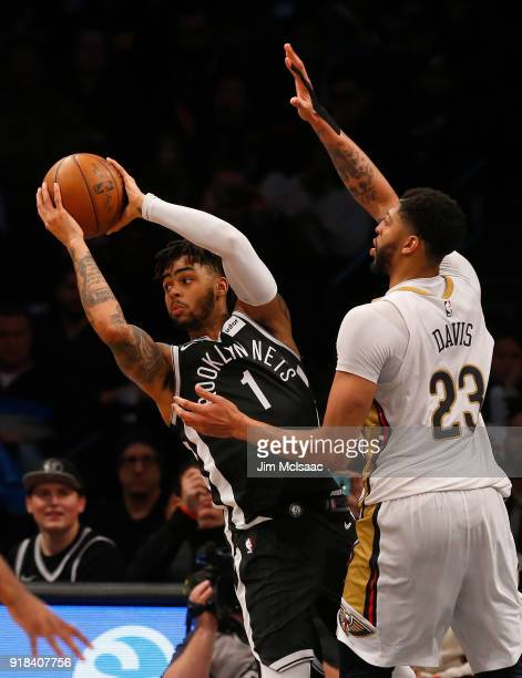 D'Angelo Russell of the Brooklyn Nets in action against Anthony Davis of the New Orleans Pelicans at Barclays Center on February 10 2018 in the...