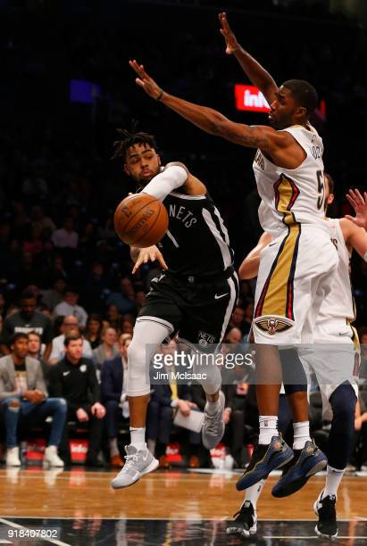 D'Angelo Russell of the Brooklyn Nets in action against E'Twaun Moore of the New Orleans Pelicans at Barclays Center on February 10 2018 in the...