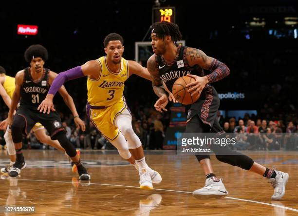 D'Angelo Russell of the Brooklyn Nets in action against Josh Hart of the Los Angeles Lakers at Barclays Center on December 18 2018 in the Brooklyn...