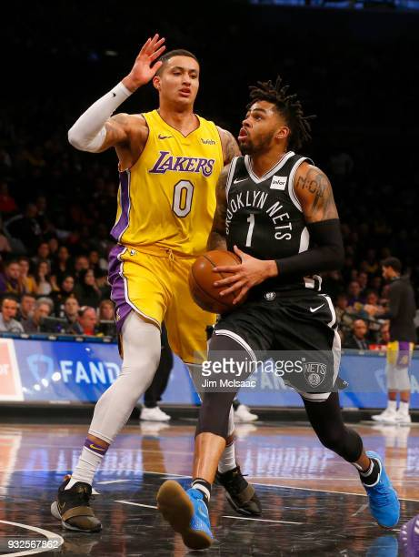 D'Angelo Russell of the Brooklyn Nets in action against Kyle Kuzma of the Los Angeles Lakers at Barclays Center on February 2 2018 in the Brooklyn...