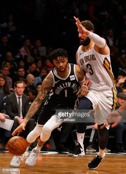 D'Angelo Russell of the Brooklyn Nets in action against Nikola Mirotic of the New Orleans Pelicans at Barclays Center on February 10 2018 in the...