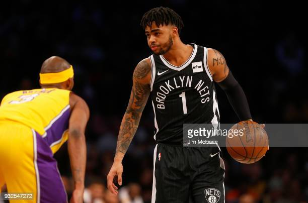 D'Angelo Russell of the Brooklyn Nets in action against the Los Angeles Lakers at Barclays Center on February 2 2018 in the Brooklyn borough of New...