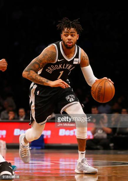 D'Angelo Russell of the Brooklyn Nets in action against the New Orleans Pelicans at Barclays Center on February 10 2018 in the Brooklyn borough of...