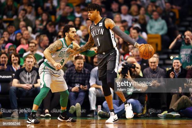 Angelo Russell of the Brooklyn Nets looks dribbles the ball while guarded by Shane Larkin of the Boston Celtics during a game at TD Garden on April...