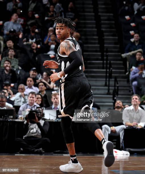 Angelo Russell of the Brooklyn Nets looks on during the game against the Toronto Raptors on March 13 2018 at Barclays Center in Brooklyn New York...