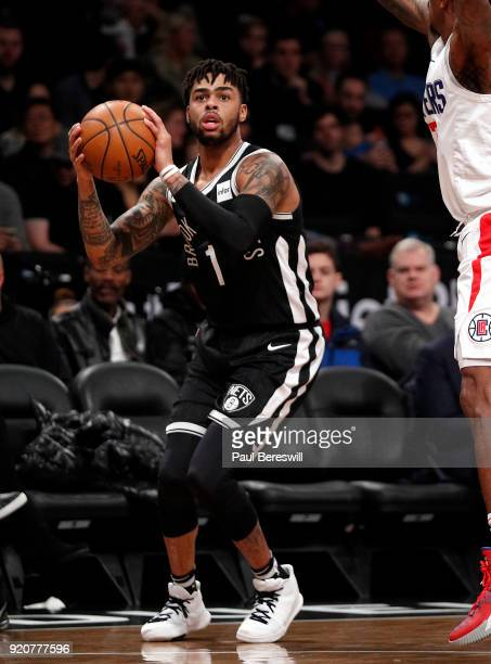 Angelo Russell of the Brooklyn Nets looks to shoot in an NBA basketball game against the Los Angeles Clippers on February 12 2018 at Barclays Center...