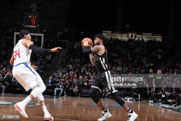 Angelo Russell of the Brooklyn Nets passes the ball against the LA Clippers on February 12 2018 at Barclays Center in Brooklyn New York NOTE TO USER...