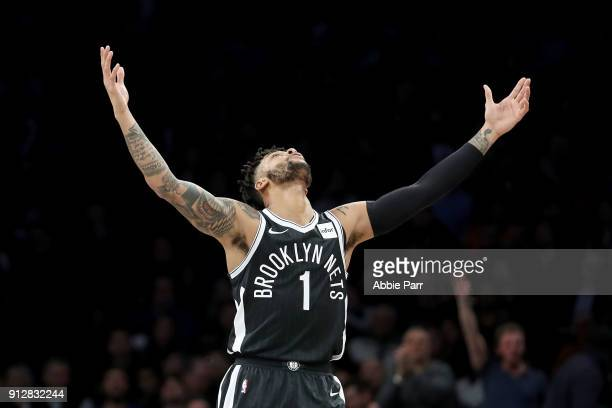 Angelo Russell of the Brooklyn Nets reacts after making a three point basket in the second quarter against the Philadelphia 76ers during their game...