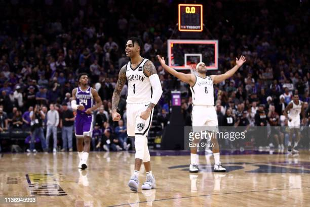 Angelo Russell of the Brooklyn Nets reacts after the Nets came back to beat the Sacramento Kings at Golden 1 Center on March 19 2019 in Sacramento...