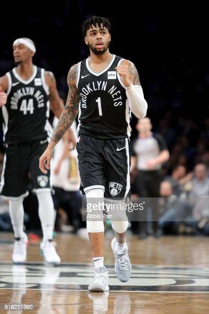 Angelo Russell of the Brooklyn Nets reacts against the New Orleans Pelicans in the third quarter during their game at Barclays Center on February 10...