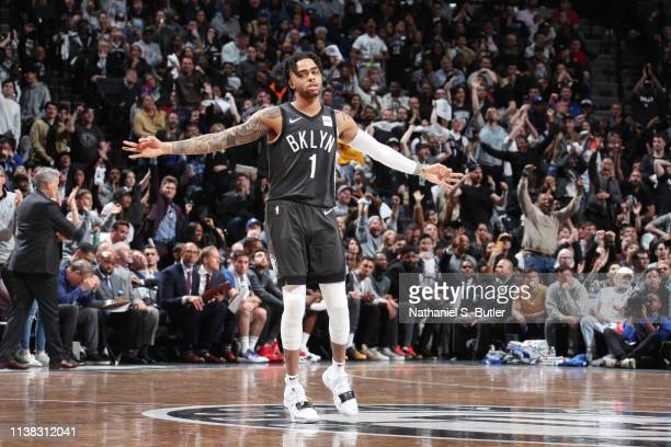 Angelo Russell of the Brooklyn Nets reacts against the Philadelphia 76ers during Game Four of Round One of the 2019 NBA Playoffs on April 20 2019 at...
