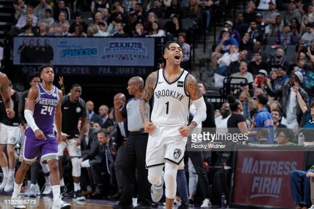 Angelo Russell of the Brooklyn Nets reacts during the game against the Sacramento Kings on March 19 2019 at Golden 1 Center in Sacramento California...