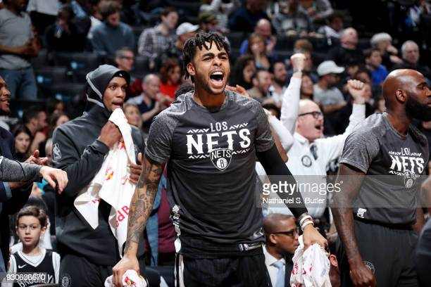 Angelo Russell of the Brooklyn Nets reacts during the game against the Philadelphia 76ers on March 11 2018 at Barclays Center in Brooklyn New York...
