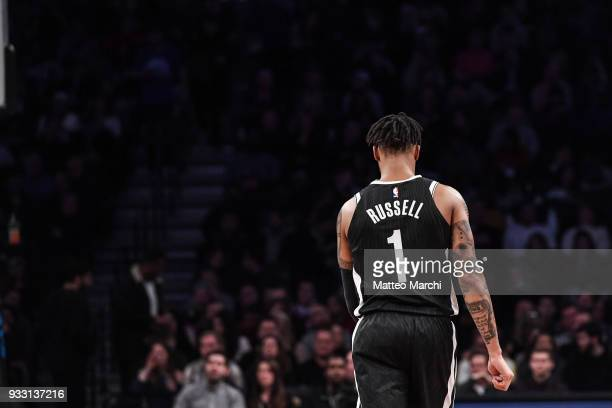 Angelo Russell of the Brooklyn Nets reacts during the game against the Philadelphia 76ers at Barclays Center on March 11 2018 in the Brooklyn borough...
