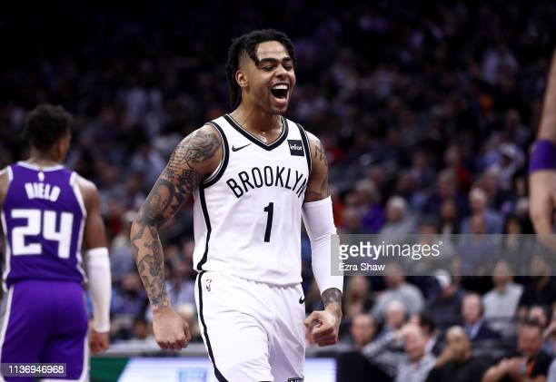 Angelo Russell of the Brooklyn Nets reacts during their game against the Sacramento Kings at Golden 1 Center on March 19 2019 in Sacramento...