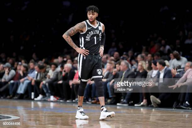 Angelo Russell of the Brooklyn Nets reacts in the second quarter against the LA Clippers during their game at Barclays Center on February 12 2018 in...