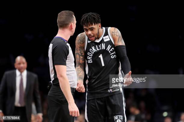 Angelo Russell of the Brooklyn Nets reacts to a call late in the fourth quarter against the LA Clippers during a game at Barclays Center on February...