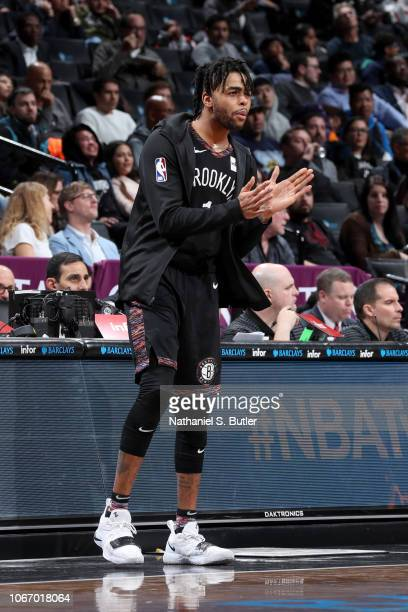 Angelo Russell of the Brooklyn Nets reacts to a play during the game against the Memphis Grizzlies on November 30 2018 at the Barclays Center in...