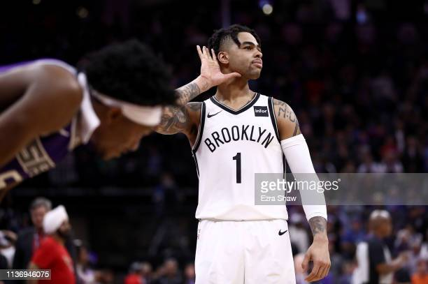 Angelo Russell of the Brooklyn Nets reacts towards the crowd after the Nets came back to beat the Sacramento Kings at Golden 1 Center on March 19...