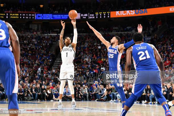 Angelo Russell of the Brooklyn Nets shoots a threepointer against Ben Simmons of the Philadelphia 76ers during Game Two of Round One of the 2019 NBA...