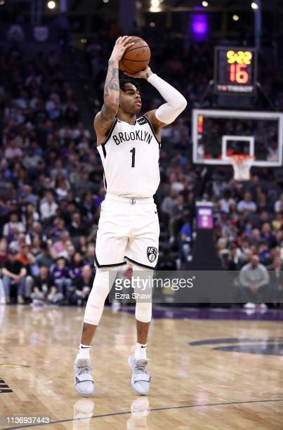 Angelo Russell of the Brooklyn Nets shoots the ball against the Sacramento Kings at Golden 1 Center on March 19 2019 in Sacramento California NOTE TO...