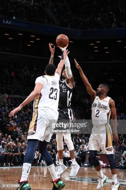 Angelo Russell of the Brooklyn Nets shoots the ball against the New Orleans Pelicans on February 10 2018 at Barclays Center in Brooklyn New York NOTE...