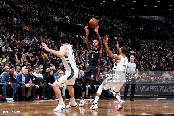 Angelo Russell of the Brooklyn Nets shoots the ball against the Milwaukee Bucks on February 4 2019 at Barclays Center in Brooklyn New York NOTE TO...