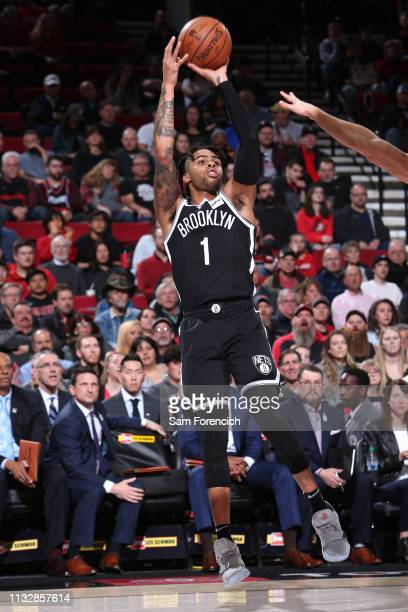 Angelo Russell of the Brooklyn Nets shoots the ball against the Portland Trail Blazers on March 25 2019 at the Moda Center in Portland Oregon NOTE TO...