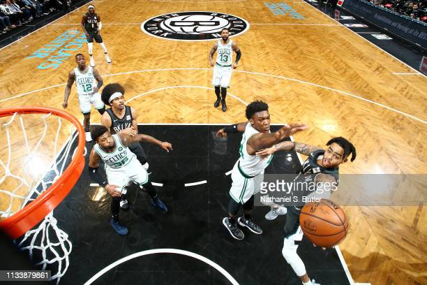 Angelo Russell of the Brooklyn Nets shoots the ball against the Boston Celtics on March 30 2019 at Barclays Center in Brooklyn New York NOTE TO USER...