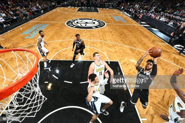 Angelo Russell of the Brooklyn Nets shoots the ball against the Denver Nuggets on October 29 2017 at Barclays Center in Brooklyn New York NOTE TO...