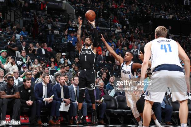 Angelo Russell of the Brooklyn Nets shoots the ball against the Dallas Mavericks on March 17 2018 at Barclays Center in Brooklyn New York NOTE TO...
