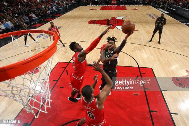 Angelo Russell of the Brooklyn Nets shoots the ball against the Chicago Bulls on April 7 2018 at the United Center in Chicago Illinois NOTE TO USER...