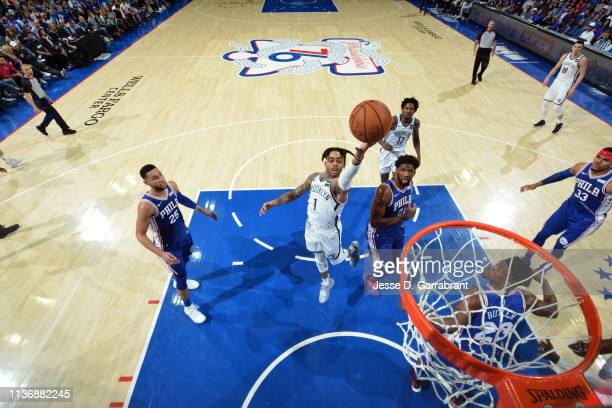 Angelo Russell of the Brooklyn Nets shoots the ball against the Philadelphia 76ers during Game One of Round One of the 2019 NBA Playoffs on April 13...