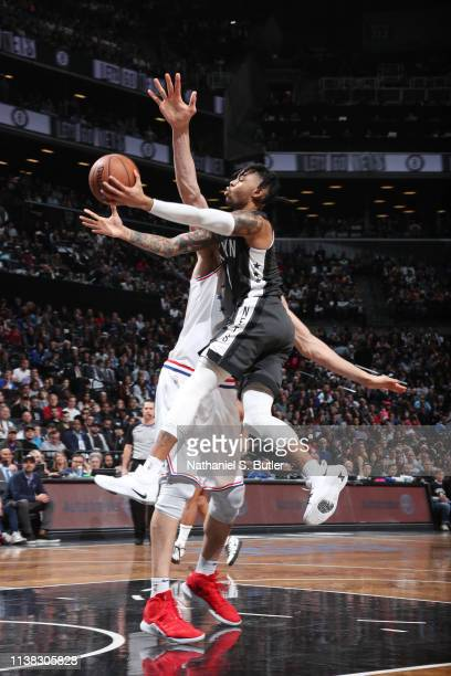 Angelo Russell of the Brooklyn Nets shoots the ball against the Philadelphia 76ers during Game Four of Round One of the 2019 NBA Playoffs on April 20...