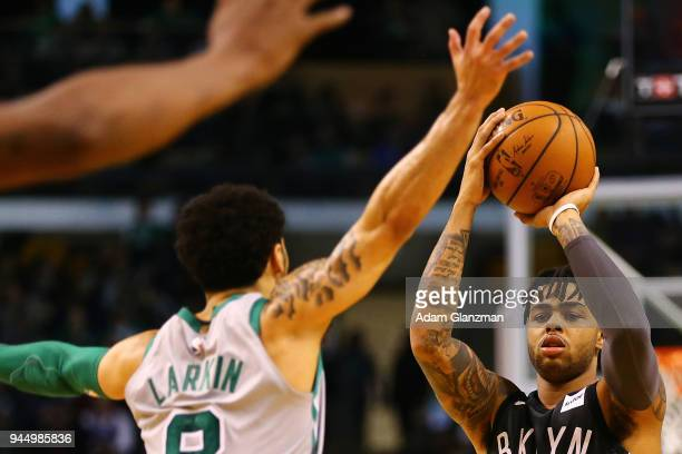 Angelo Russell of the Brooklyn Nets shoots the ball during a game giants the Boston Celtics at TD Garden on April 11 2018 in Boston Massachusetts...