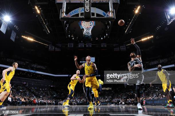 Angelo Russell of the Brooklyn Nets shoots the ball during the game against the Indiana Pacers on February 14 2018 at Barclays Center in Brooklyn New...