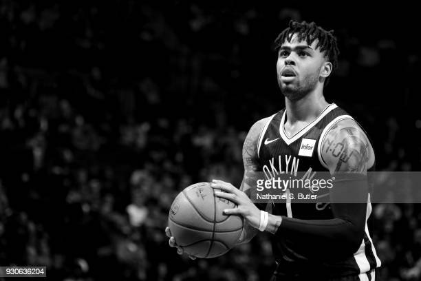 D'Angelo Russell of the Brooklyn Nets shoots the ball during the game against the Philadelphia 76ers on March 11 2018 at Barclays Center in Brooklyn...