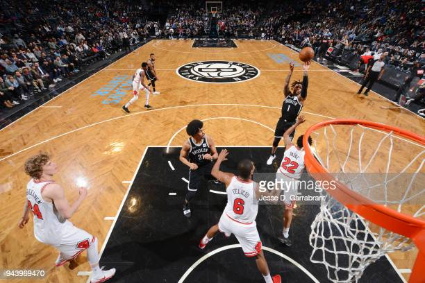 Angelo Russell of the Brooklyn Nets shoots the ball during the game against the Chicago Bulls on April 9 2018 at Barclays Center in Brooklyn New York...