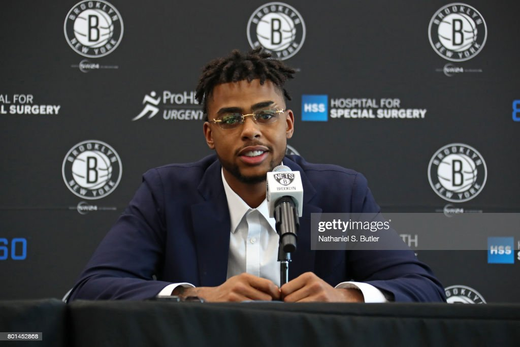 Brooklyn Nets Introduce D'Angelo Russell and Timofey Mozgov during a Press Conference : News Photo