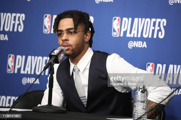 Angelo Russell of the Brooklyn Nets speaks with the media after Game Three of Round One of the 2019 NBA Playoffs on April 18 2019 at the Barclays...