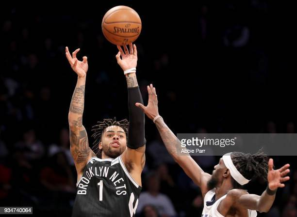 Angelo Russell of the Brooklyn Nets takes a shot against Briante Weber of the Memphis Grizzlies in the fourth quarter during their game at Barclays...