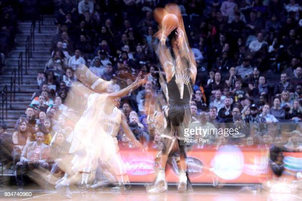 Angelo Russell of the Brooklyn Nets takes a shot against Briante Weber of the Memphis Grizzlies in the second quarter during their game at Barclays...