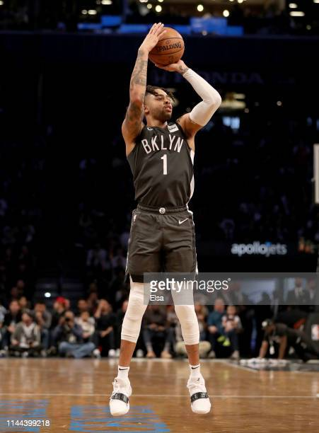Angelo Russell of the Brooklyn Nets takes a shot in the first half against the Philadelphia 76ers at Barclays Center on April 20 2019 in the Brooklyn...