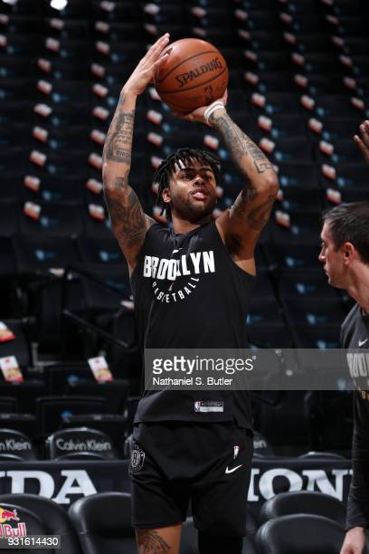 Angelo Russell of the Brooklyn Nets warms up before the game against the Toronto Raptors on March 13 2018 at Barclays Center in Brooklyn New York...