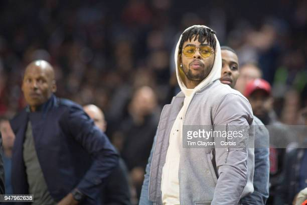 D'Angelo Russell of the Brooklyn Nets watching the Jordan Brand Classic National Boys Teams AllStar basketball game The Jordan Brand Classic...