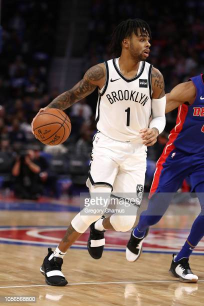Angelo Russell of the Brooklyn Nets while playing the Detroit Pistons during the home opener at Little Caesars Arena on October 17 2018 in Detroit...