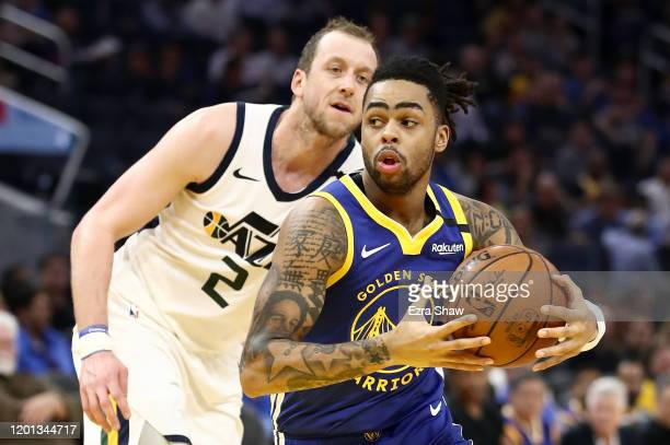 Angelo Russell of the Golden State Warriors drives on Joe Ingles of the Utah Jazz at Chase Center on January 22, 2020 in San Francisco, California....