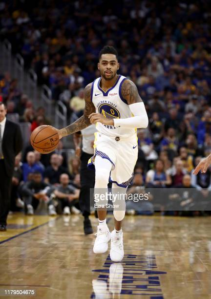 Angelo Russell of the Golden State Warriors in action during their game against the Los Angeles Lakers at Chase Center on October 05, 2019 in San...