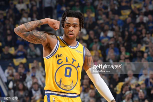 Angelo Russell of the Golden State Warriors reacts to a play against the Boston Celtics on November 15, 2019 at Chase Center in San Francisco,...